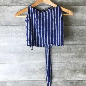 Lottie Moss PacSun striped open back tie crop top